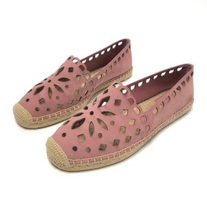 Tory Burch May Flat Floral Suede Espadrilles Pink